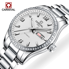 CARNIVAL New Men's Mechanical Watches Fashion Luminous Waterproof Calendar Stainless Steel Strap Automatic Watch Reloj Hombre