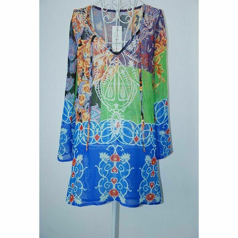 Imcute, женское бикини с v-образным вырезом, сексуальный шифоновый пляжный купальник, платье, шарф, парео, саронг, женское летнее платье - Цвет: Синий