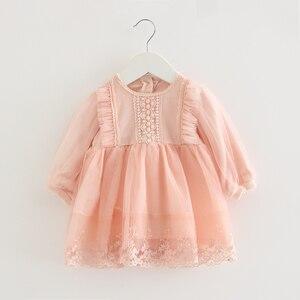 Image 1 - Bebê meninas vestido de renda tule bordado lanterna manga festa princesa vestido crianças roupas para a criança 0 2y