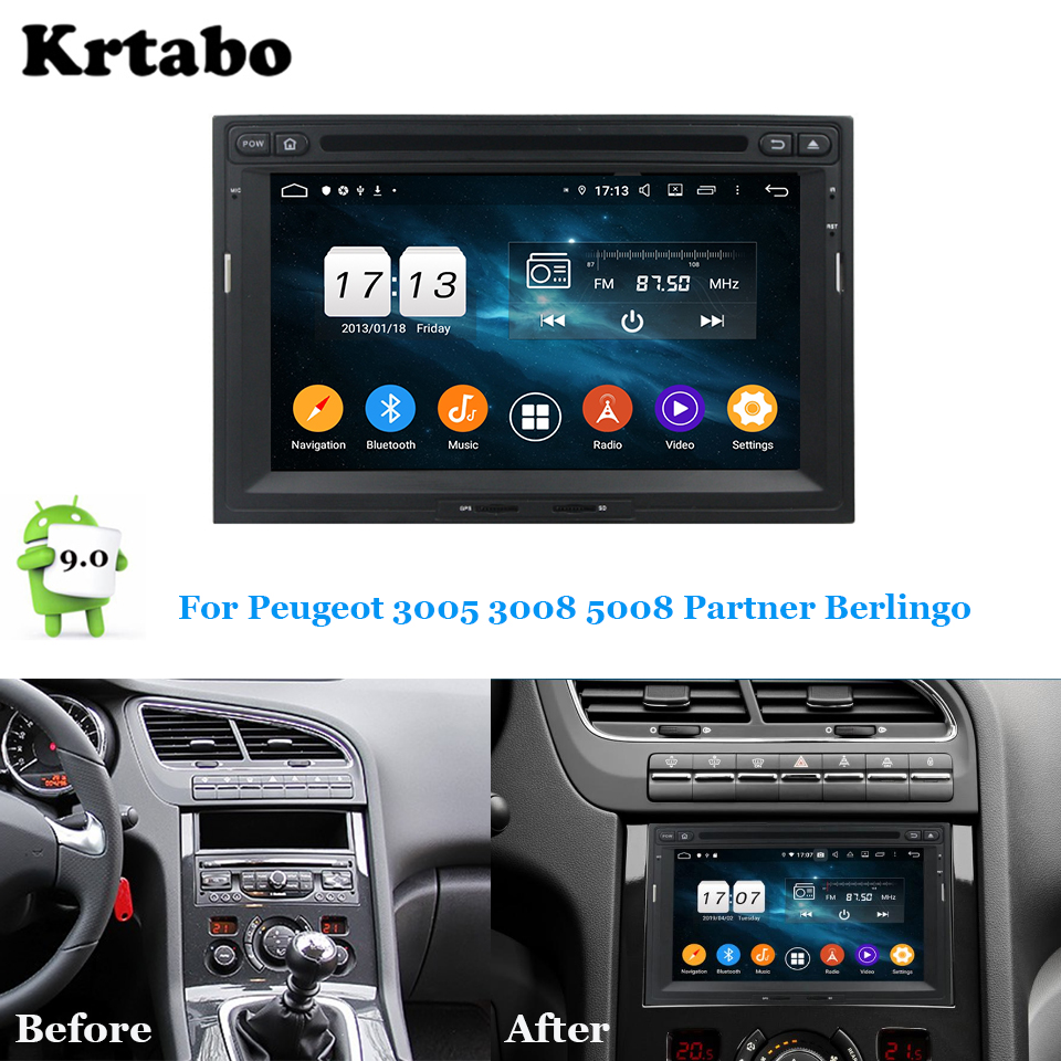 Car radio Android multimedia player 4G RAM <font><b>For</b></font> <font><b>Peugeot</b></font> 3005 <font><b>3008</b></font> 5008 Partner Berlingo Car touch screen <font><b>GPS</b></font> Support Carplay image