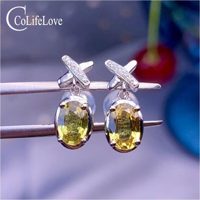 Bijoux CoLife 18K or blanc saphir boucles d'oreilles pour usage quotidien 100% réel naturel jaune saphir boucles d'oreilles cadeau pour femme