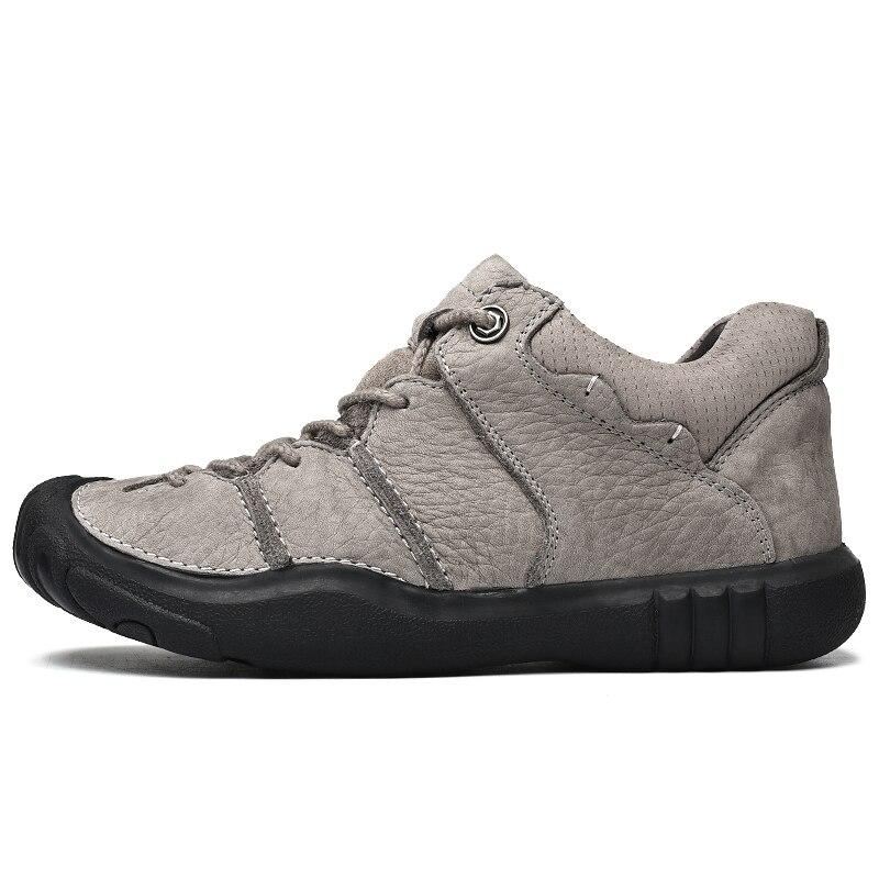 Zapatillas de senderismo para hombre, zapatos de cuero de vaca, botas de Trekking altas, impermeables, zapatillas deportivas de montaña, zapatillas para caminar al aire libre-in Botas básicas from zapatos    2