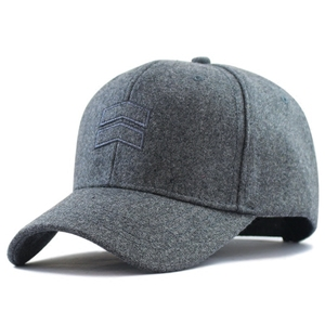2019 Winter Dad Warm Felt Hats Big Head Man Wool Cap Male Plus Size Baseball Caps 56-62cm 62-68cm(China)