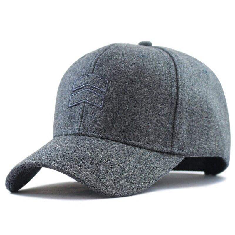2019 Winter Dad Warm Felt Hats Big Head Man Wool   Cap   Male Plus Size   Baseball     Caps   56-62cm 62-68cm