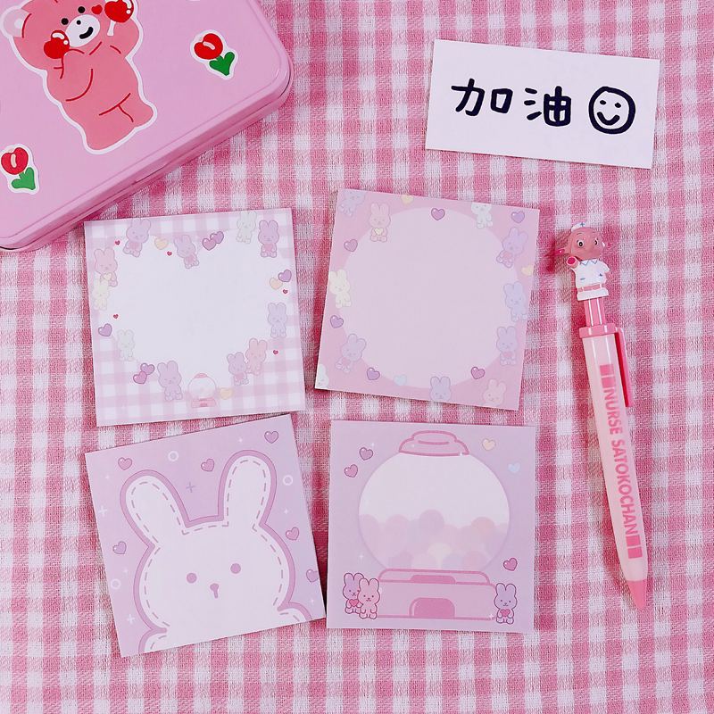 1Pack Korean INS Cute Soft Pink Rabbit Memo Pad N Times Sticky Notes Portable Notepad School Office Supply Stationery