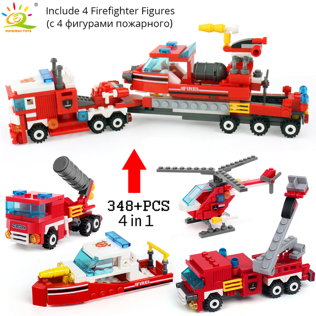 348pcs Fire Fighting 4in1 Trucks Car Helicopter Boat Building Blocks 1