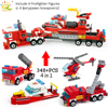 Building Blocks HUIQIBAO 348pcs Fire Fighting 4in1 Trucks Car Helicopter Boat City Firefighter Figures Man Bricks Children Toys