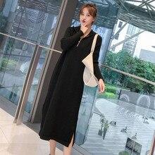 819# разрезами по бокам передняя молния черный вязаный беременности и родам длинные свитера осенне-зимняя модная, модельная для беременных Для женщин Беременность