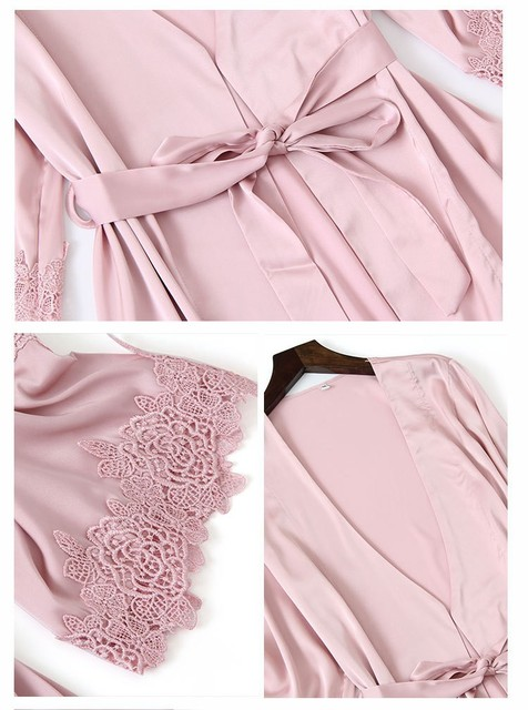Satin Touch Pajama Set With Lace Trim 5