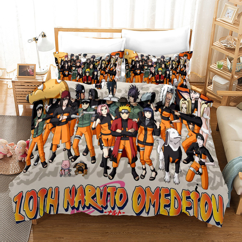 3D Cartoon Bedding Set Print Naruto Kids Adult Bedclothes Bed Duvet Cover Set Twin Queen King Size Pillowcases Comforter Covers