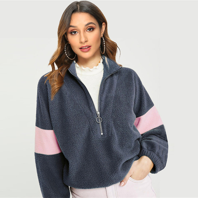 Fashion Patchwork Fleece Sweatshirts 2019 Autumn Winter Warm Hoodies For Women Casual Long Sleeve Zipper Teddy Hoodie Loose Top