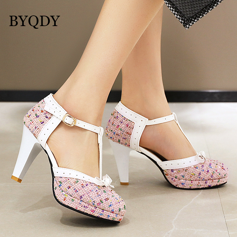 BYQDY Fashion Spike Heel Women Pumps T-strap Round Toe Platform Shoes Female Buckle Strap Bowknot Party Pumps For Girlfriends