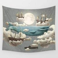 Dreamland baleia azul no céu em torno de nuvem e navio impressão tapeçaria de suspensão de parede