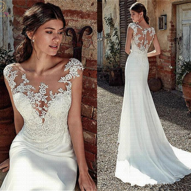 Vestido De Noiva Modest Soft Satin Bateau Neckline Mermaid Wedding Dress 2020 Lace Appliques Sheer Bridal Dress Illusion Back