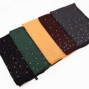 Image 3 - 2020 neue Damen Diamant Glitter Solide Farbe Plain Baumwolle Jersey Hijab Schal Frauen Muslimischen Lange Stirnband Haar Schals Echarpe Femme