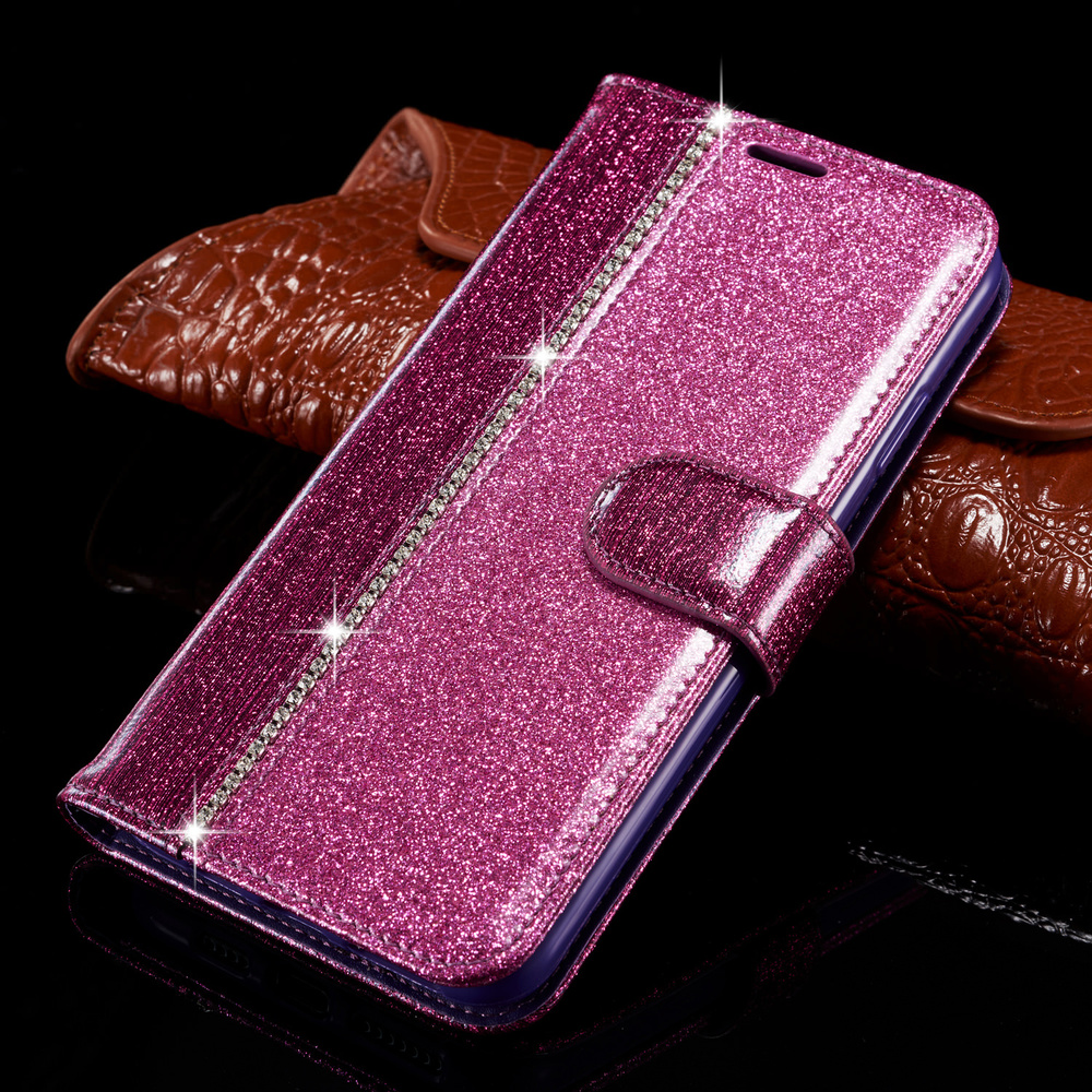 Bling Diamond <font><b>Flip</b></font> <font><b>Case</b></font> For <font><b>Samsung</b></font> <font><b>Galaxy</b></font> A8 2018 A7 A750 A6 A3 2017 <font><b>A5</b></font> <font><b>A520</b></font> A320 Leather Wallet Book Glitter Cover <font><b>Case</b></font> image