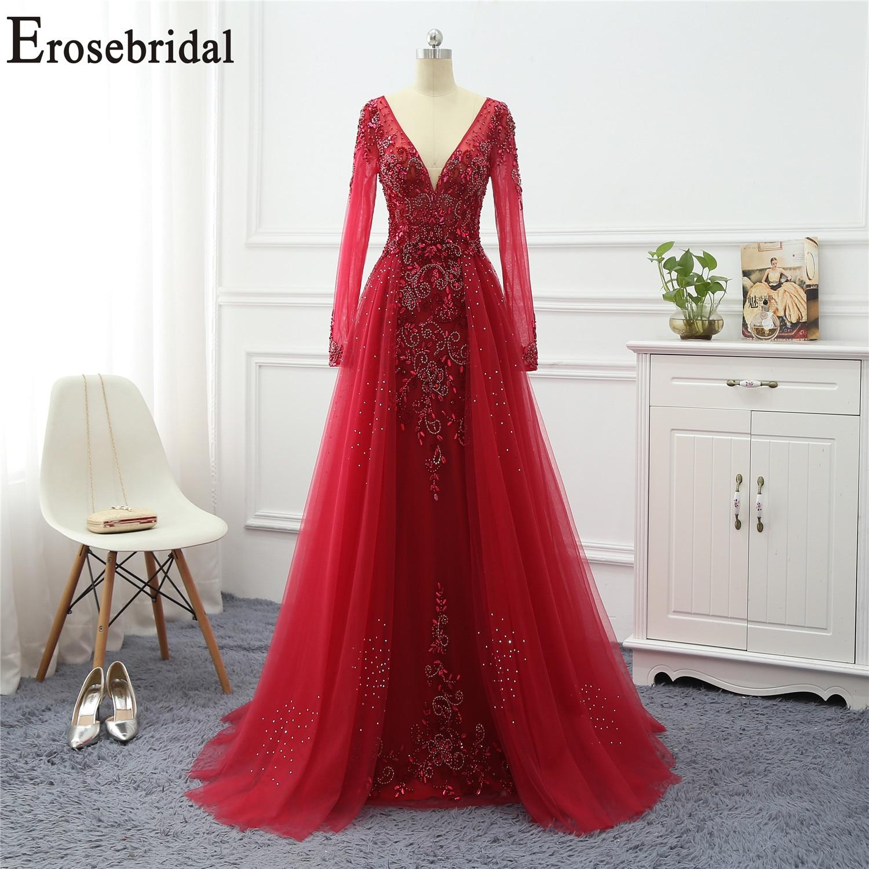 Erosebridal Red Evening Dress Long Sleeve V Neck Long Formal Dresses Evening Gown/Dress With Train 5 Colors