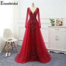 Erosebridal zarif kırmızı uzun kollu abiye 2020 parlak boncuklu bir çizgi gece elbisesi balo parti kadın giyim seksi V boyun