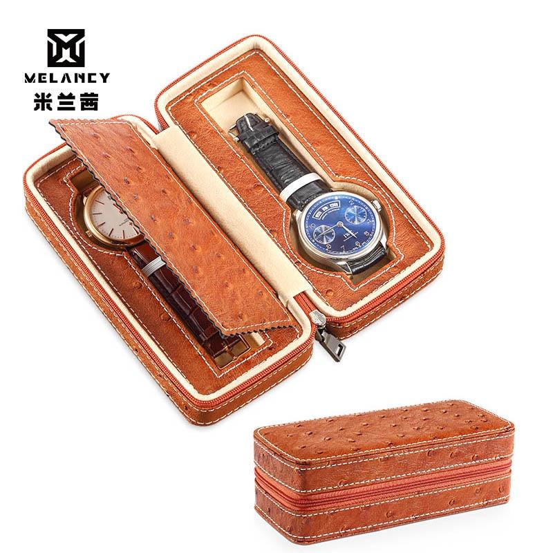 2 Grids PU Leather Watch Box Watch Organizer Storage Watches Display Case Tray Zippere Travel Jewelry Watch Box jewelry box