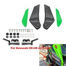 Motorcycle Fairing Aerodynamic Wing Kit Winglet Fairing Wing Carbon Fiber Black For KAWASAKI ZX 10R / 6R ZX10R ZX6R 2011   2019