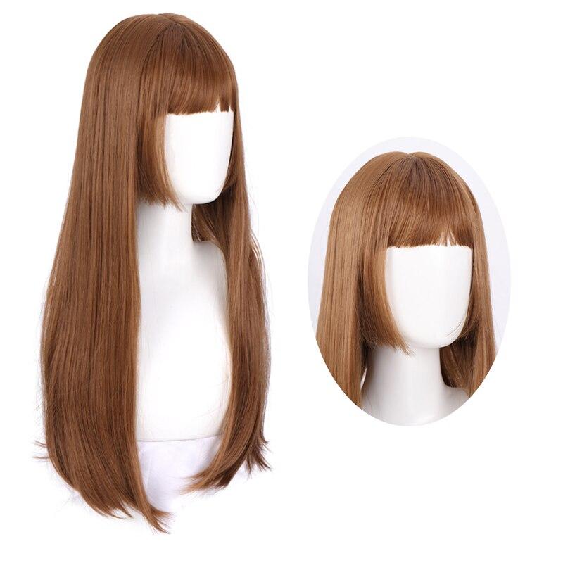 JINKAILI длинный прямой парик с челкой синтетические волосы парики челка с париком для женщин Светлый коричневый серый термостойкий парик косп...