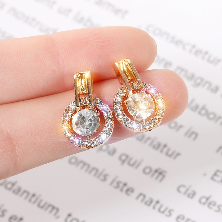 2019 Fashion Hot New Earrings Simple And Exquisite Versatile Net Red Temperament Crystal Circle Ladies Earrings Small Earrings