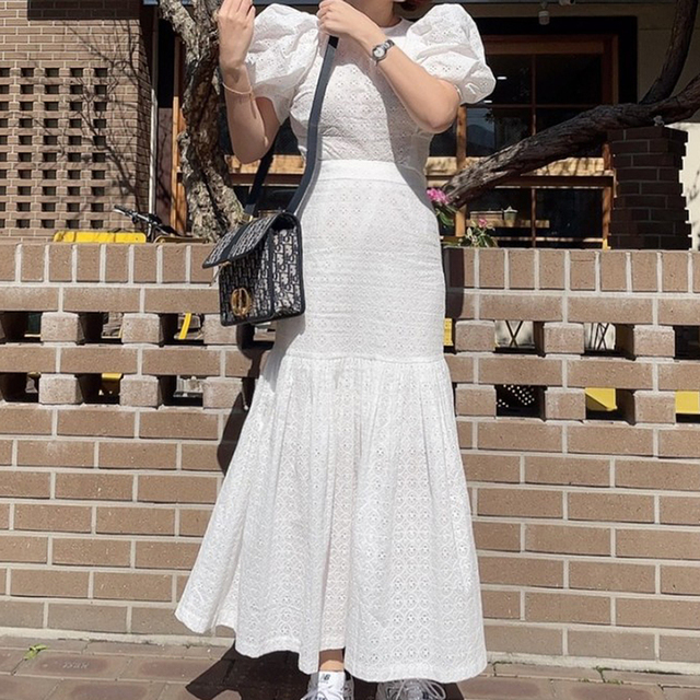 [EWQ] Pleated Ruffles High Elastic Waist Half-body Skirt Women Casual Tide New Summer 2021 Puff Sleeve Blouse White 2-piece Set 3