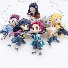 6pcs Anime Demon Slayer Figures Kimetsu No Yaiba Keychain Tanjirou Figur Nezuko Action Figure Inosuke Zenitsu PVC Model Toy Gift