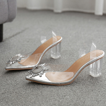 2020 Summer Transparent High Heels Sandals Women Sexy Slip-on Pointed Toe Pumps Shoes Fashion Comfort Silver Women Party Sandals women platform sandals ladies high heels pumps fashion black shoes slip on summer sandals sexy stage shoes