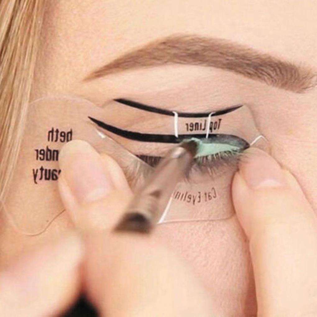 Guia 10pcs Gato Delineador Stencil Smokey Sombra de Olho Maquiagem Conjunto de Ferramentas Simples