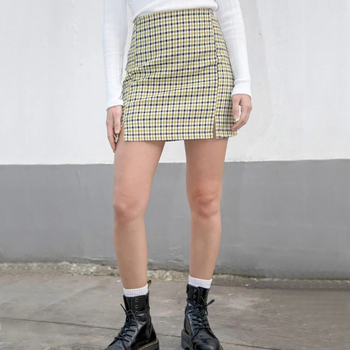 Women Dark Green and Yellow Print Mini Skirts Two Small Front Slits Plaid Mini Skirt with Side Zipper Skirts