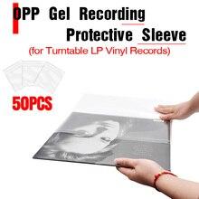 """LEORY 50 pièces OPP Gel enregistrement manchon de protection pour lecteur de platine vinyle LP disque auto adhésif disques sac 12 """"32.3cm * 32cm"""