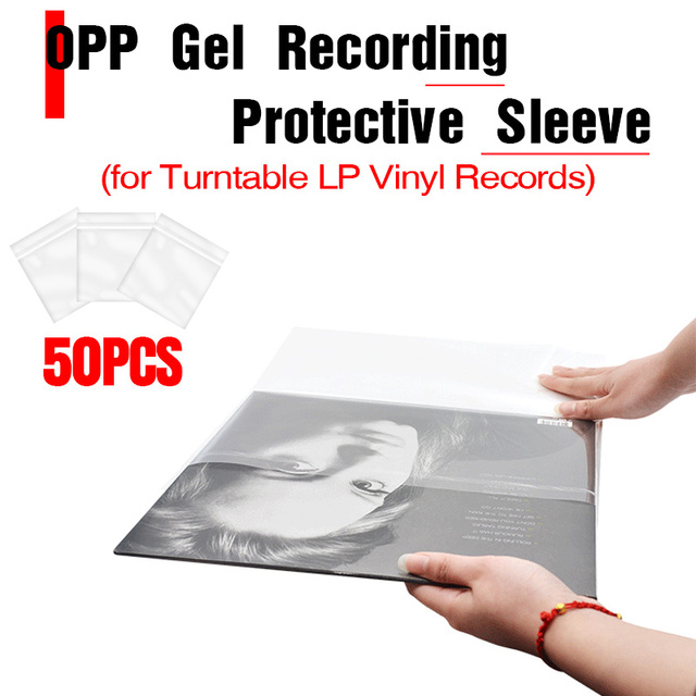 "LEORY 50PCS OPP Gel Recording Protective Sleeve for Turntable Player LP Vinyl Record Self Adhesive Records Bag 12"" 32.3cm*32cm"