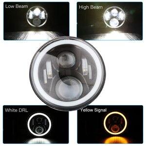 """Image 4 - 2 stücke 7 Inch Runde Halo Led Scheinwerfer für Jeep Wrangler Unlimited JK 7 """"DRL Winkel Augen led Projektor scheinwerfer"""