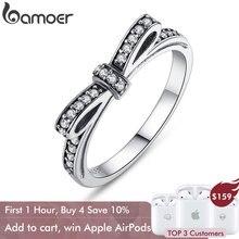 Bamoer аутентичные 100% стерлингового серебра 925 игристые бант стекируемые кольцо микро проложить CZ ювелирные изделия PA7104