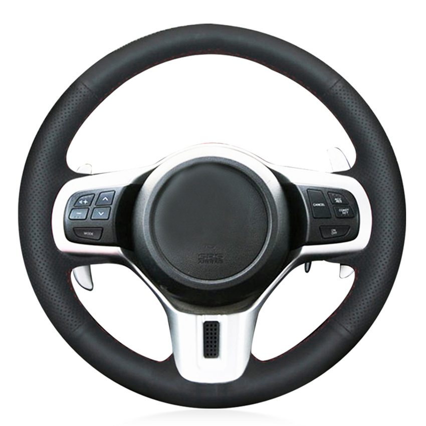 Black PU Faux Leather Handsewing Car Steering Wheel Cover for Mitsubishi Lancer 10 EVO Evolution