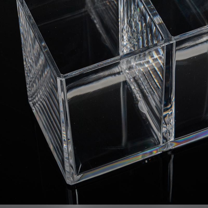 Clear Acrylic  Pencil Cup  Holder Case Desktop Stationery Organizer Compartments  5