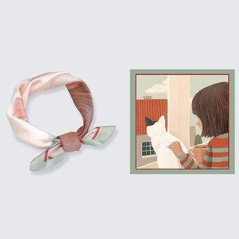 2020 Original Cute Cartoon Small Square Silk Scarf Female Real Silk Four Seasons Temperament Scarf Hair Band Neck Decoration цена 2017
