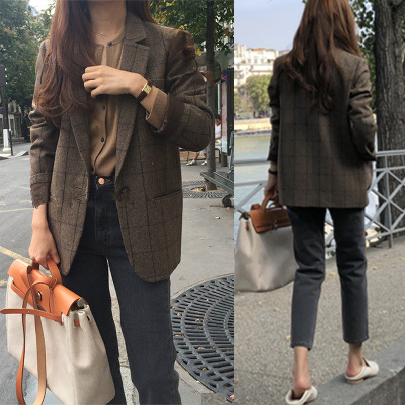 New  Spring Korean Vintage Plaid Blazers Women Fashion Loose Notched Single Button Blazer Female Casual Coat Blazer Feminino