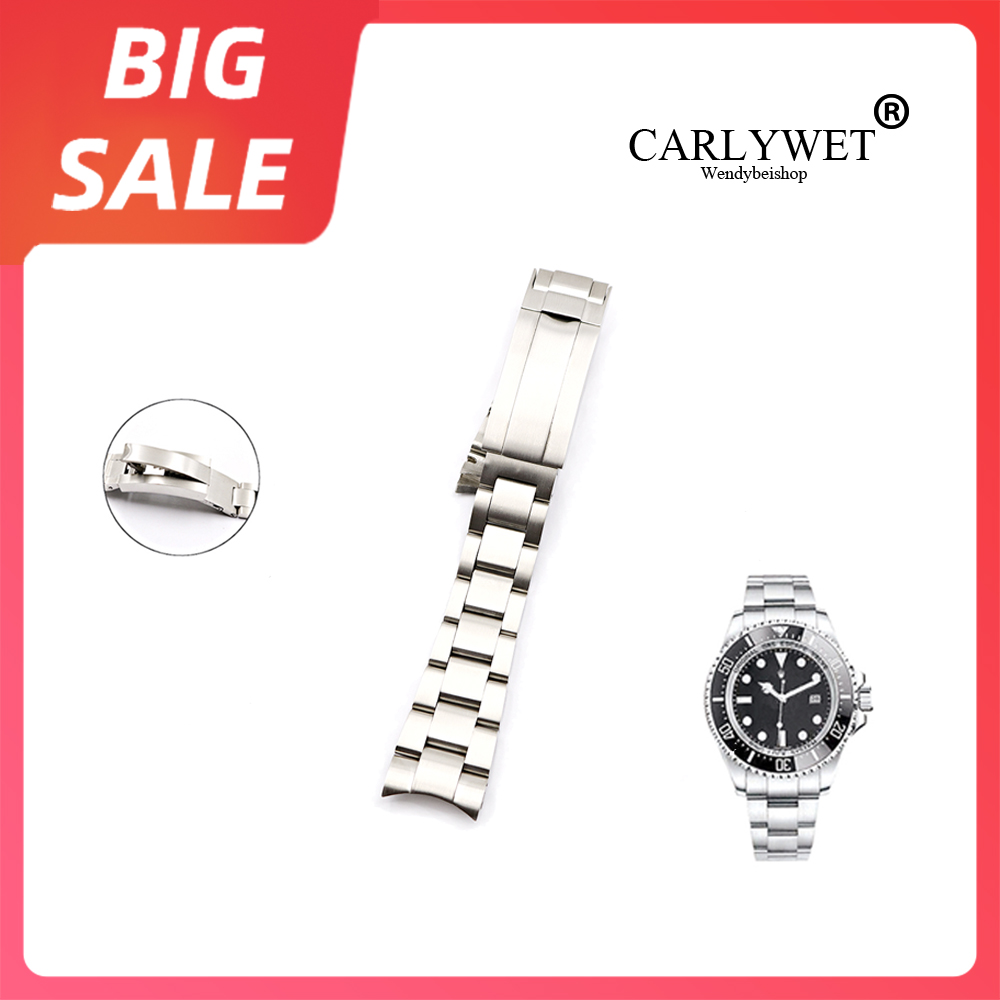 CARLYWET 20 21mm Silver Solid Curved End Steel Screw Links Watch Band Bracelet Glide Flip Lock Clasp For Rolex Oyster Deepsea