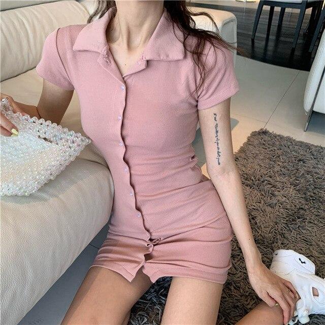 New women's dress Short sleeve skinny Retro dress dresses for fashion women casual elegant dress sexy dress 2021 club wear 1