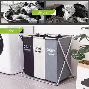 Image 2 - Katlanır çamaşır sepeti organizatör kirli giysiler çamaşır sepeti büyük sıralayıcısı İki veya üç ızgaraları katlanabilir katlanır sepet