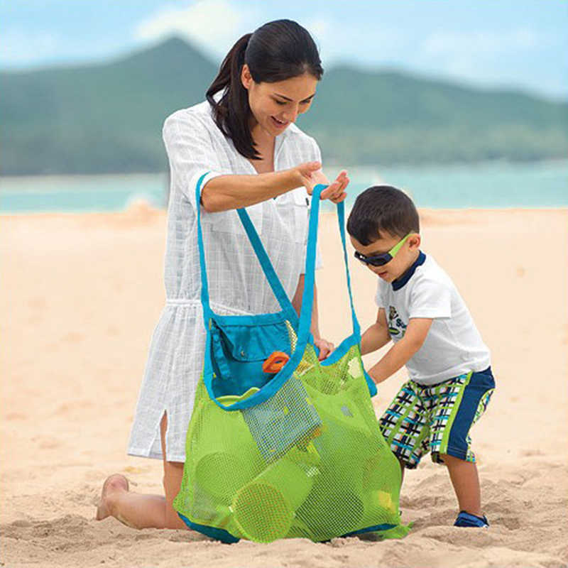 SUEF Children Kids Sand Object Collect Toys Mesh Bag Tote Beach Storage Shell Net Bag @3