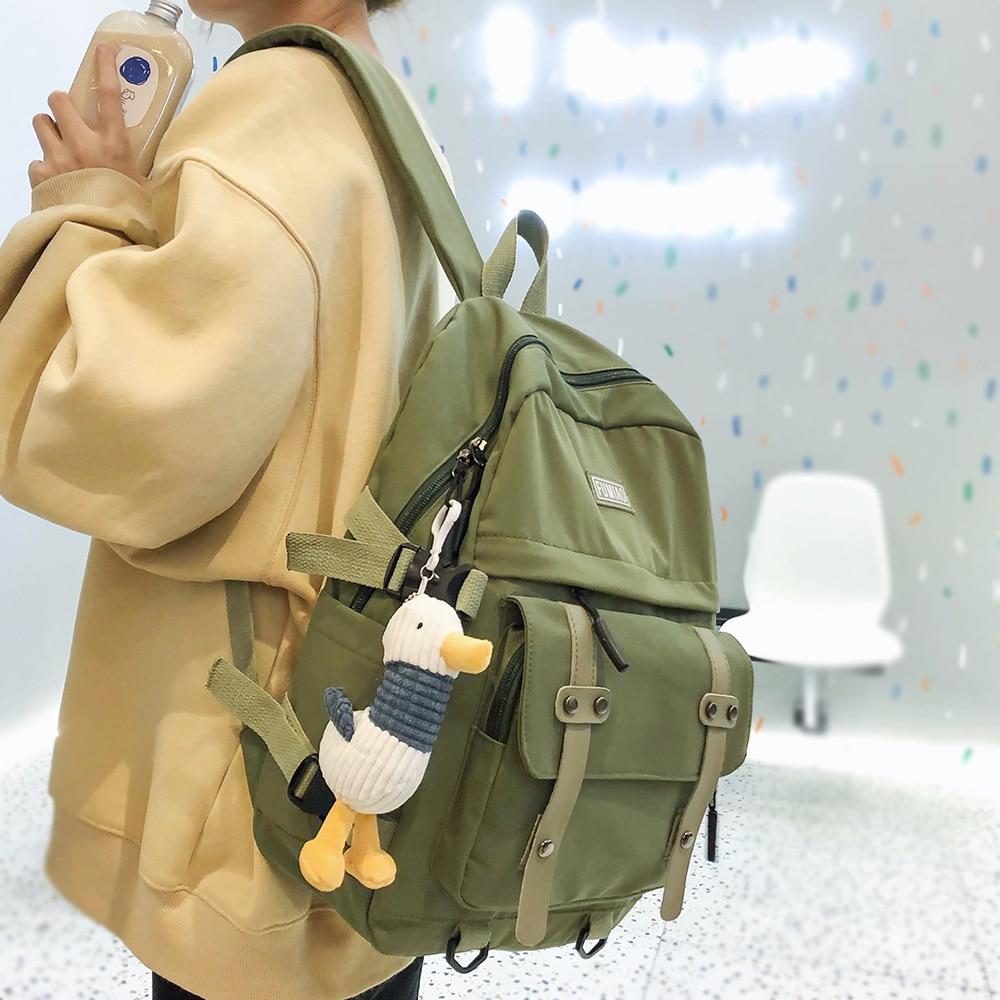 Women Waterproof Nylon Backpack Student Cute School Bag Kawaii Girl Backpack Laptop Female Fashion Book Bag Buckle Ladies Luxury
