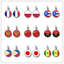 Pendientes de gancho francés con bandera nacional para mujer, aretes de Francia, Polonia, Puerto Rico, Albania, China, Suecia, Japón