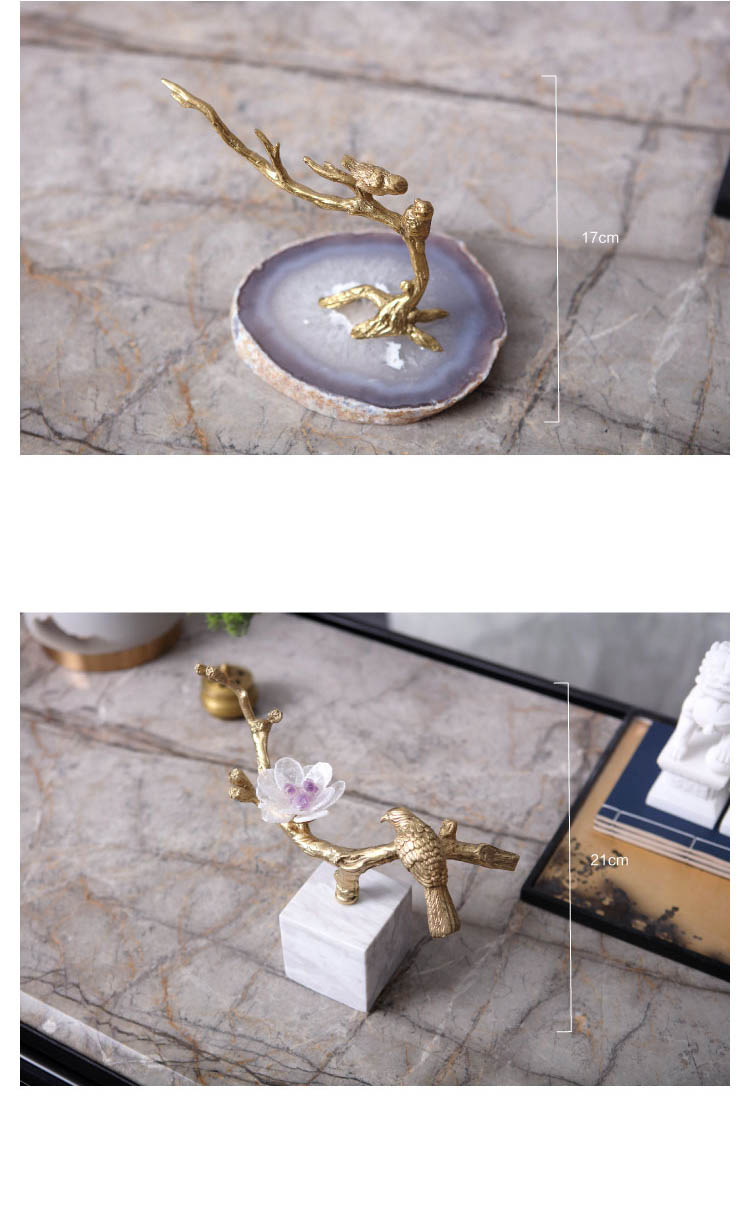 Modern Golden Bird Standing On A Branch Copper Desktop Ornaments Creative For Office Home Decorations Agate Stone Crafts Gift