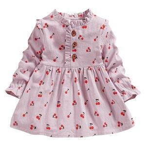Outono Vestido do Bebê Da Criança Do Bebê Meninas Manga Longa Ruched Sólida Cereja Impressão Vestidos Roupas de Menina Recém-nascidos Vestido de Princesa
