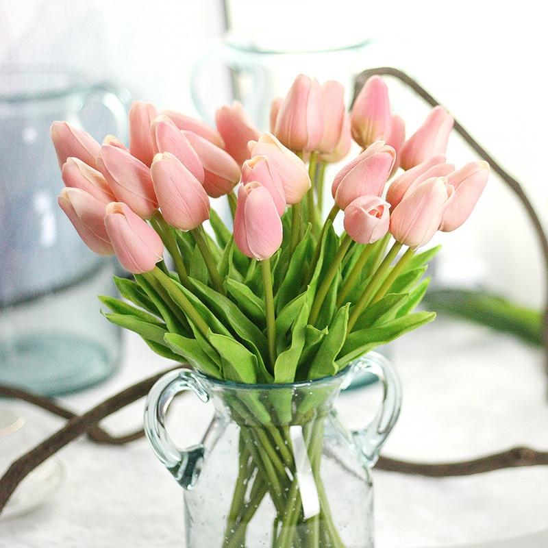 10 Pcs/lot Mini PU Latex Tulip Artificial Flowers Decoration Home Garden Wedding Bouquet Flower Arrangement Fake Floral Wreath