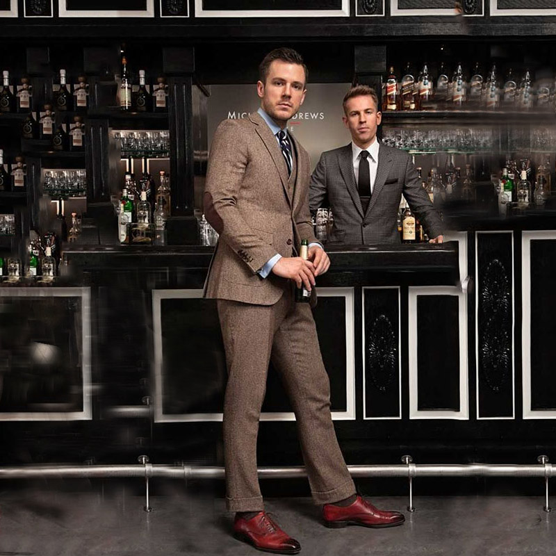 Special Elbow Patch Brown Tweed Men Tuxedos Wedding Classic Suit Blazer Jacket Slim Fit Groom Custom Made Best Man Three Pieces