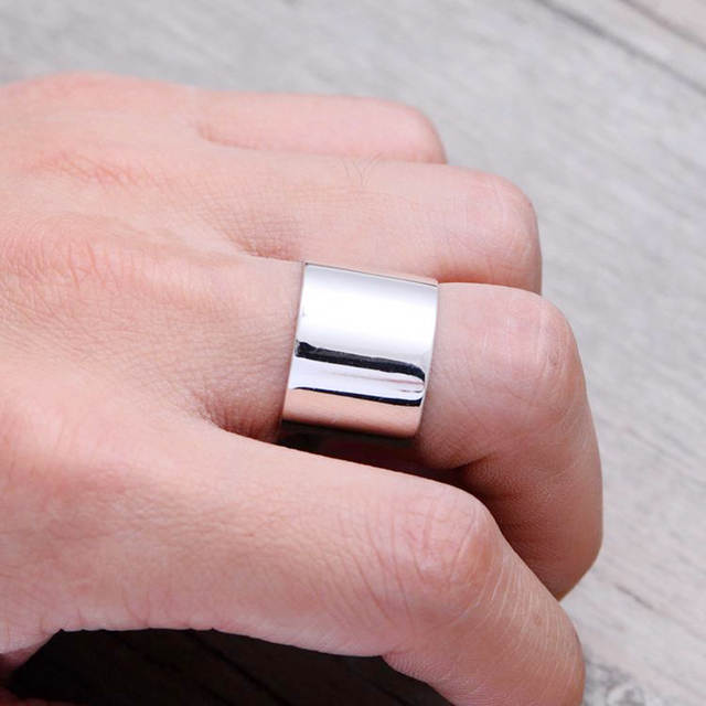 Real 925 Sterling Silver Smooth Rings For Women Gifts Wedding Jewelry Large Antique Finger Rings Anelli
